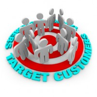 Target customers on a red target