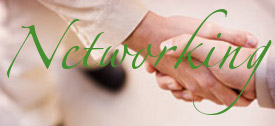 Shaking hands at a referral networking meeting