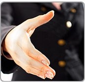 Offering a Handshake to make visitors to your networking group feel welcome